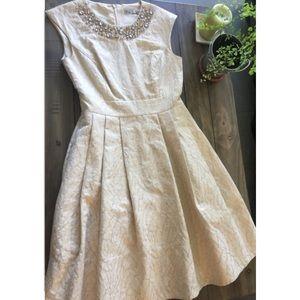 Eliza J Embellished Jacquard Fit & Flare Dress, 2